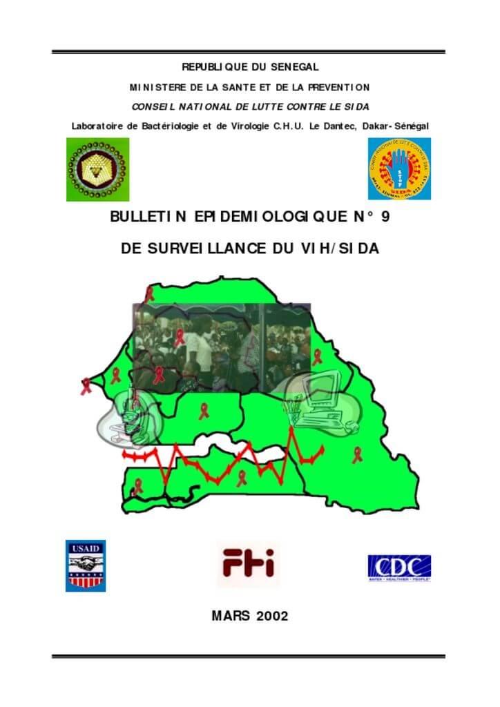 thumbnail of Bulletin epidemiologique N°9 de surveillance du VIH 2002