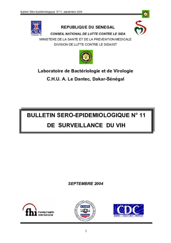 thumbnail of Bulletin sero-épidémiologique N°11 de surveillance du Vih 2004