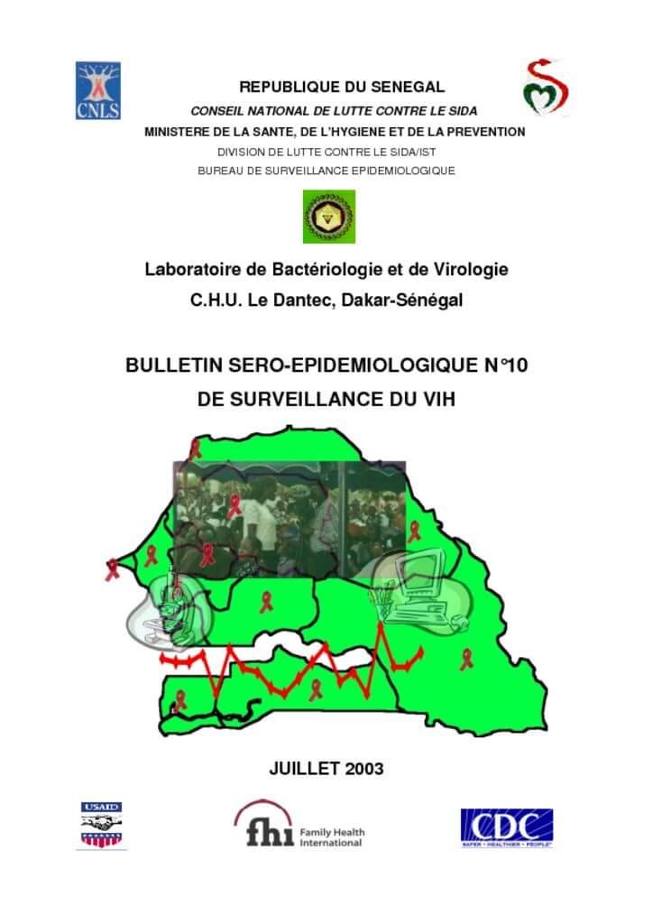 thumbnail of Bulletin sero-épidemiologique N°10 de surveillance du VIH 2003