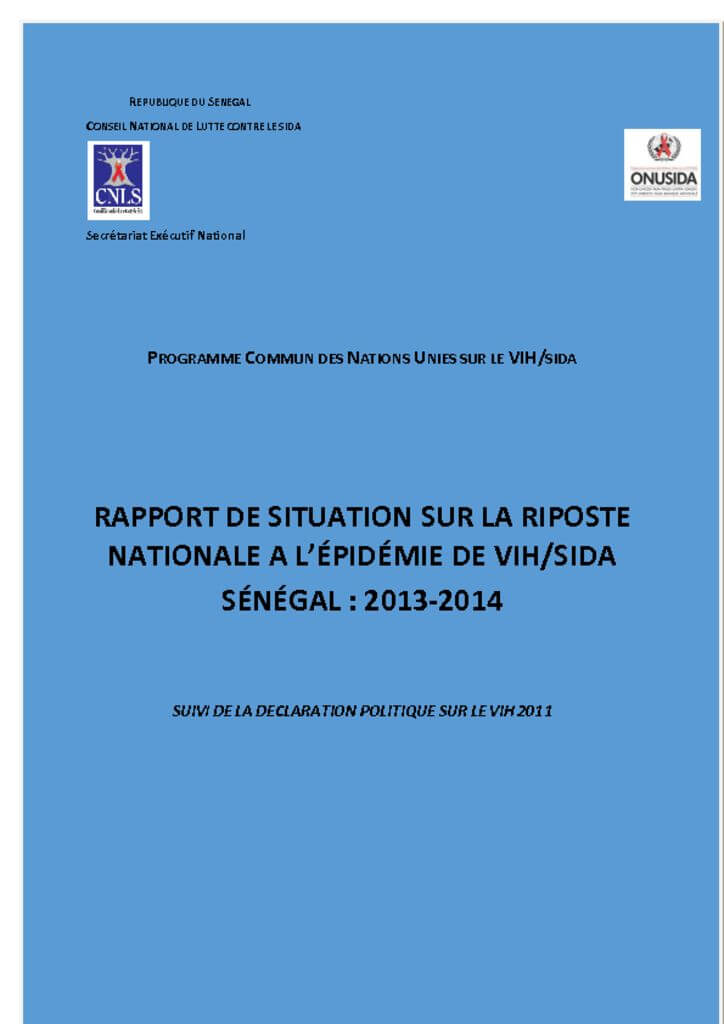 thumbnail of Rapport 2013-2014 de situation sur la riposte nationale à l'épidémie du Vih