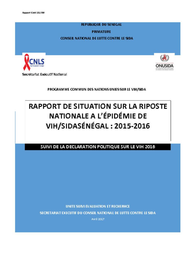 thumbnail of Rapport 2015-2016 de situation sur la riposte nationale à l'épidémie du Vih au Sénégal