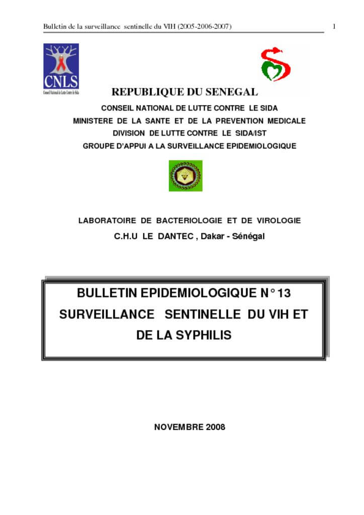 thumbnail of Bulletin Epidémiologique N°13 2005-2007